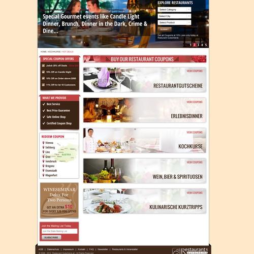 Create the next website design for a gourmet coupon portal