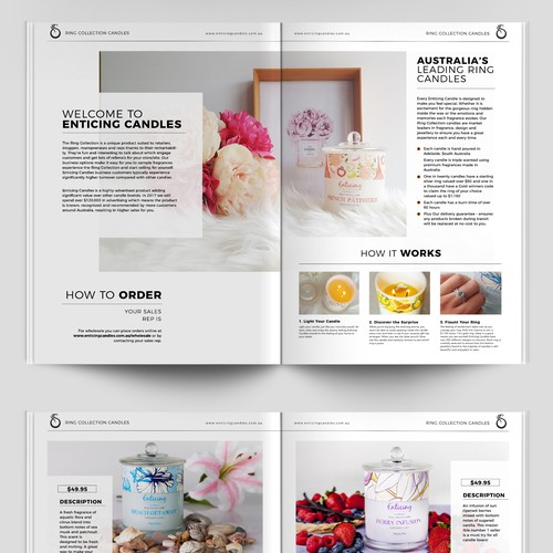 Booklet for Enticing Candles Products