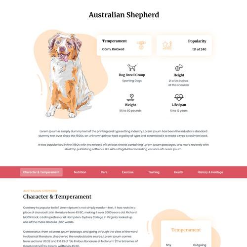 Presentation website for dog breed