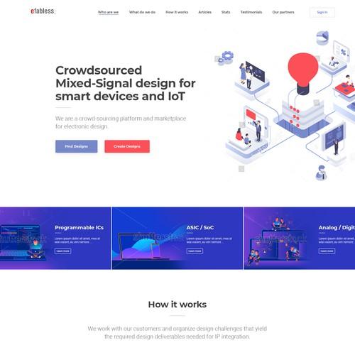 Homepage design for crowd-sourcing platform Efabless