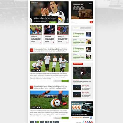 Brand new soccer blog needs emotional design! - Neuer Fussball Blog sucht emotionalen Touch!