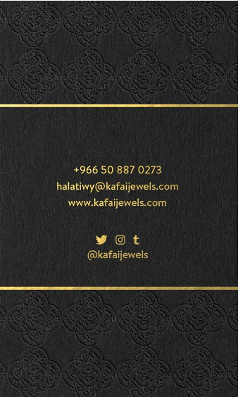 Creat a simple but elegant business card for KAFAI jewelry