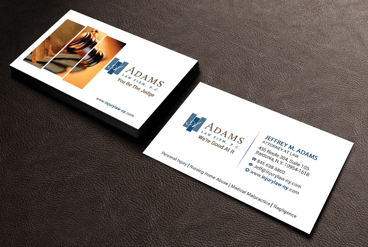 Create a clean nontraditional business card for Adams Law Firm!