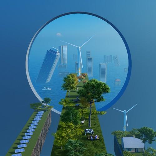 NFT illustration, Climate Change, Sustainable City