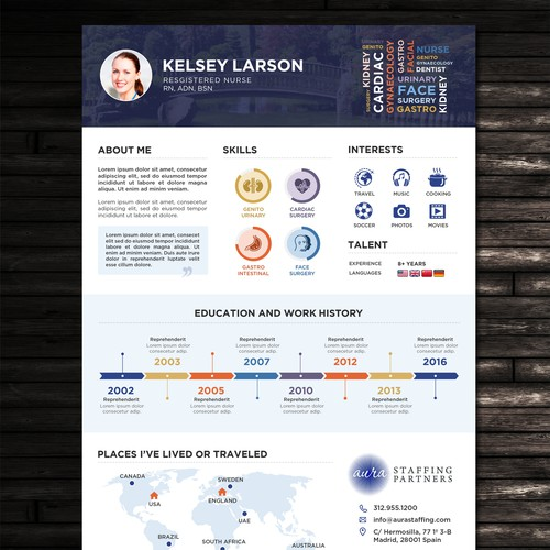 Infographic resume template for Healthcare Staffing Company
