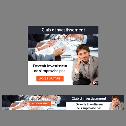"""""""Ecole des Finances Personnelles is looking for 3 ad banners to promote an investment club""""."""