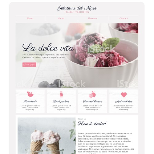 Landing Page design concept for ice-cream company