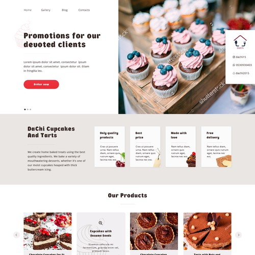 A  web-site for business promotion (cupcakes and tarts)