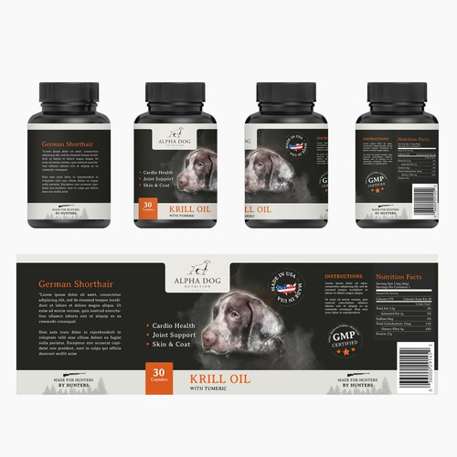 Label for hunting dogs krill oil