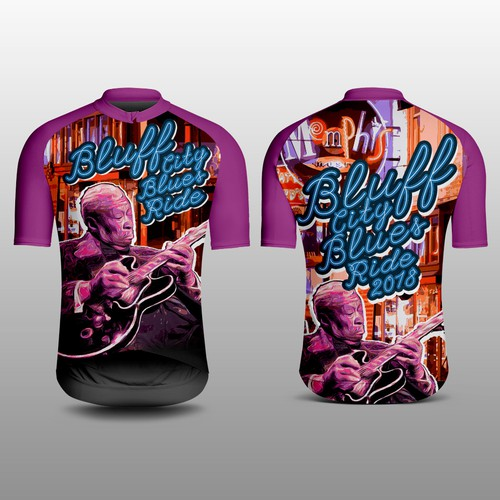 Colorful Blues Guitar influenced BIcycle Jersey