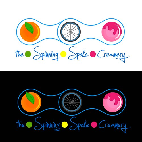 Create a logo for brand new, fresh fruit, mobile ice cream cart powered entirely by bike!