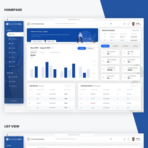 Moverstech CRM Dashboard Design