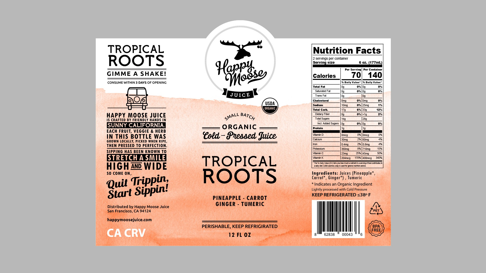 California Juice Company (Happy Moose Juice) Needs a Strong, New Label!