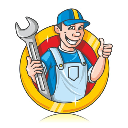 Cartoon Human Mascot for Auto Repair Service