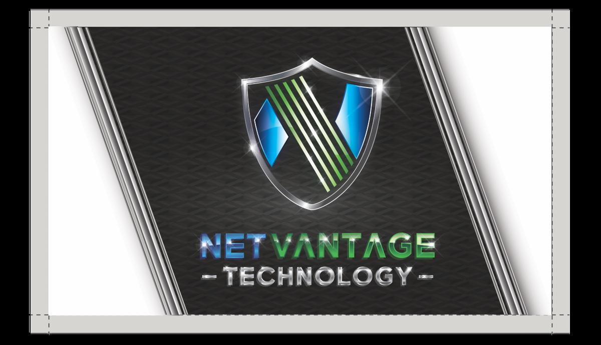High Tech Business Card with Metallic Logo, Font
