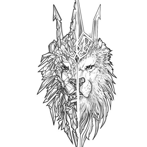 Tattoo design lion