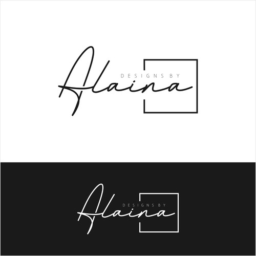 "Logo concept for ""design by Alaina"""