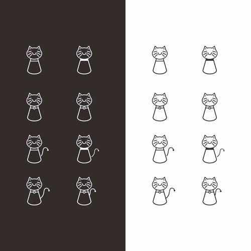 猫のデザインを入力してバドミントンのユニフォームのロゴ