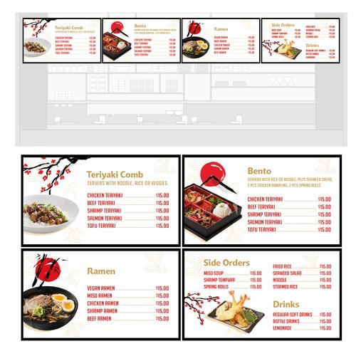 Digital menu panel design for a Japanese food restaurant