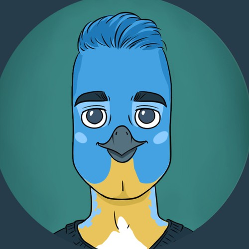 Real people illustrated as soulful bird-character