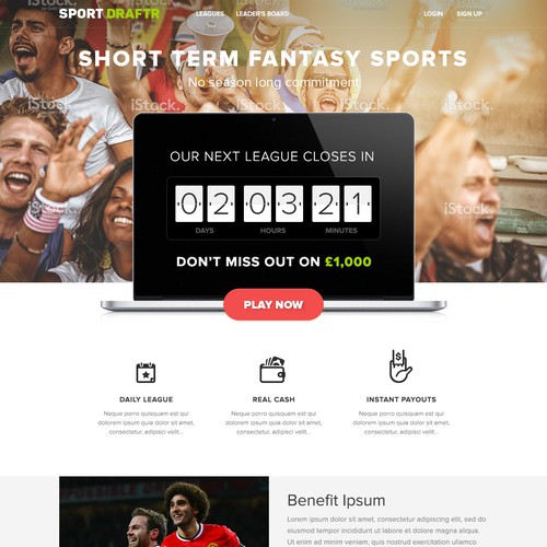 Create a modern and exciting fantasy sports website