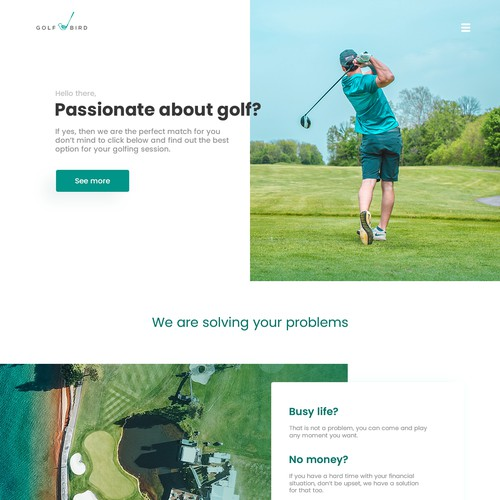 Homepage concept for golf website