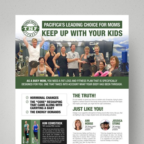 Create a full page ad for TNF Fitness