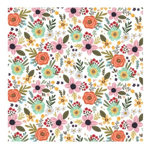 Bohemian style floral pattern