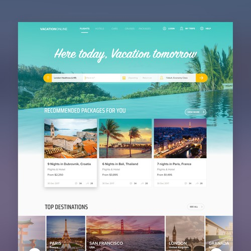 Web design for a travel booking company
