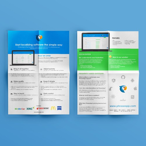 Clean One-Pager for a successful online start-up