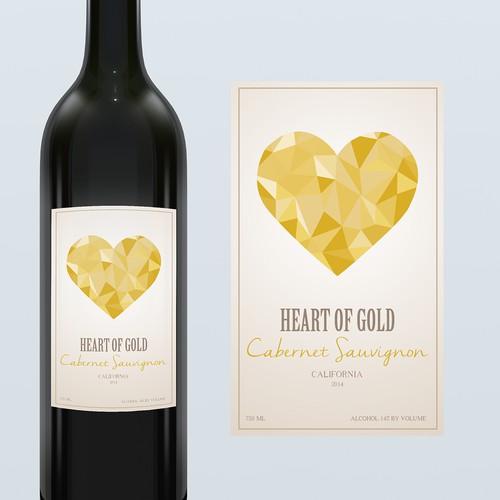 "Wine Label for ""Heart of Gold"" Cabernet Sauvignon"