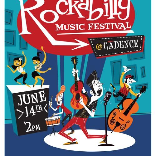 Rockabilly concert promo poster