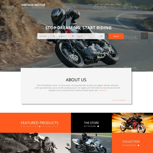 Web page design for VINTAGE MOTORS.