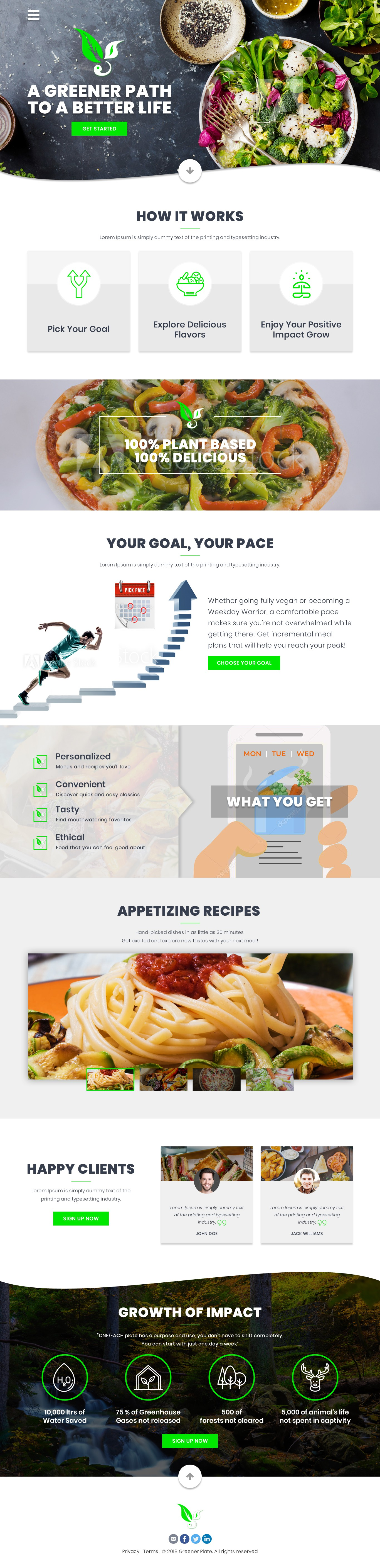 Create a appetizing landing page for a plant-based eating platform