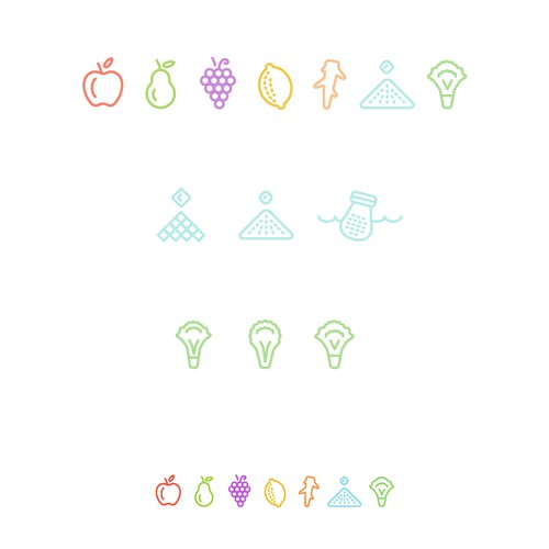 FRUITS/VEGGIES/SNACK ICONS! fun project...
