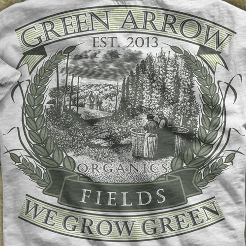 Create a simple modern but classic Tshirt design for Green Arrow Fields!