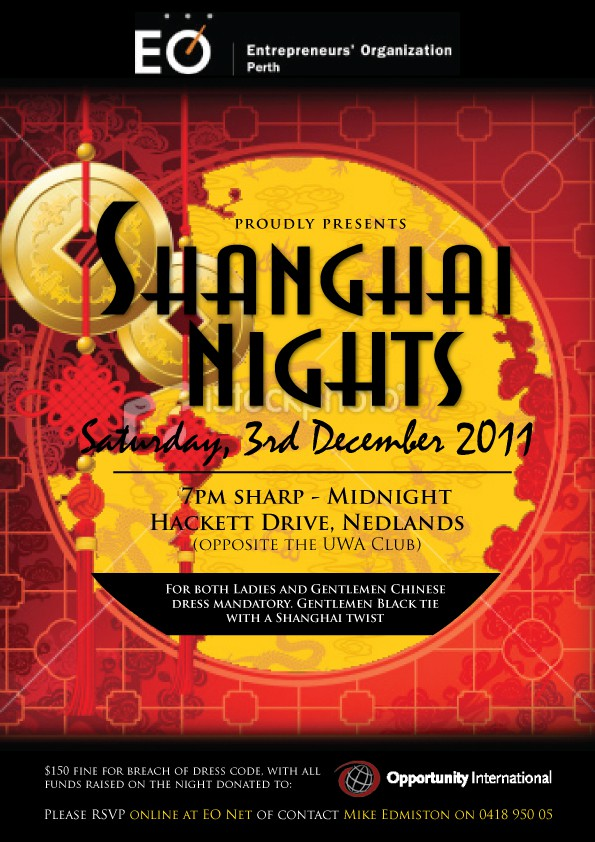 Create the next print or packaging design for Shanghai Nights