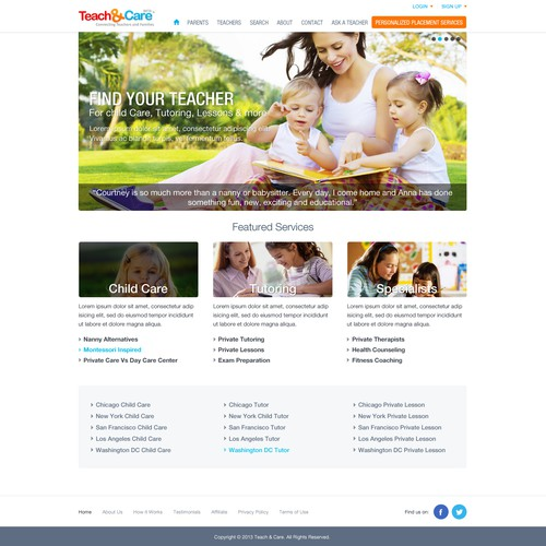 Help TeacherCare with a new website design
