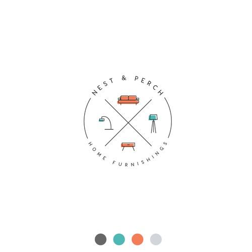 Minimalist logo for modern furniture store