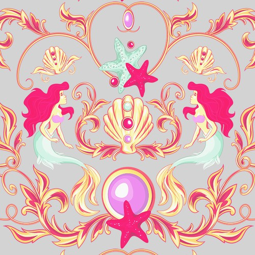 Versace inspired mermaid pattern