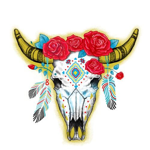 Boho cow scull