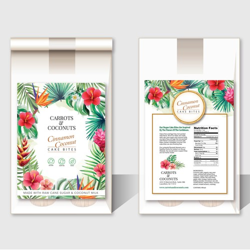 Winning Label Design for Vegan Cake Bites with Caribbean Flair