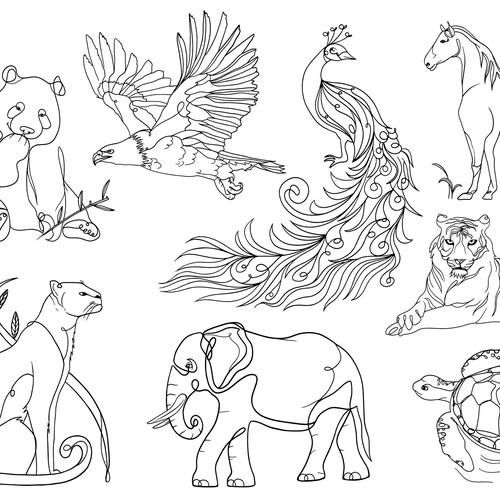 Animals Line-Art