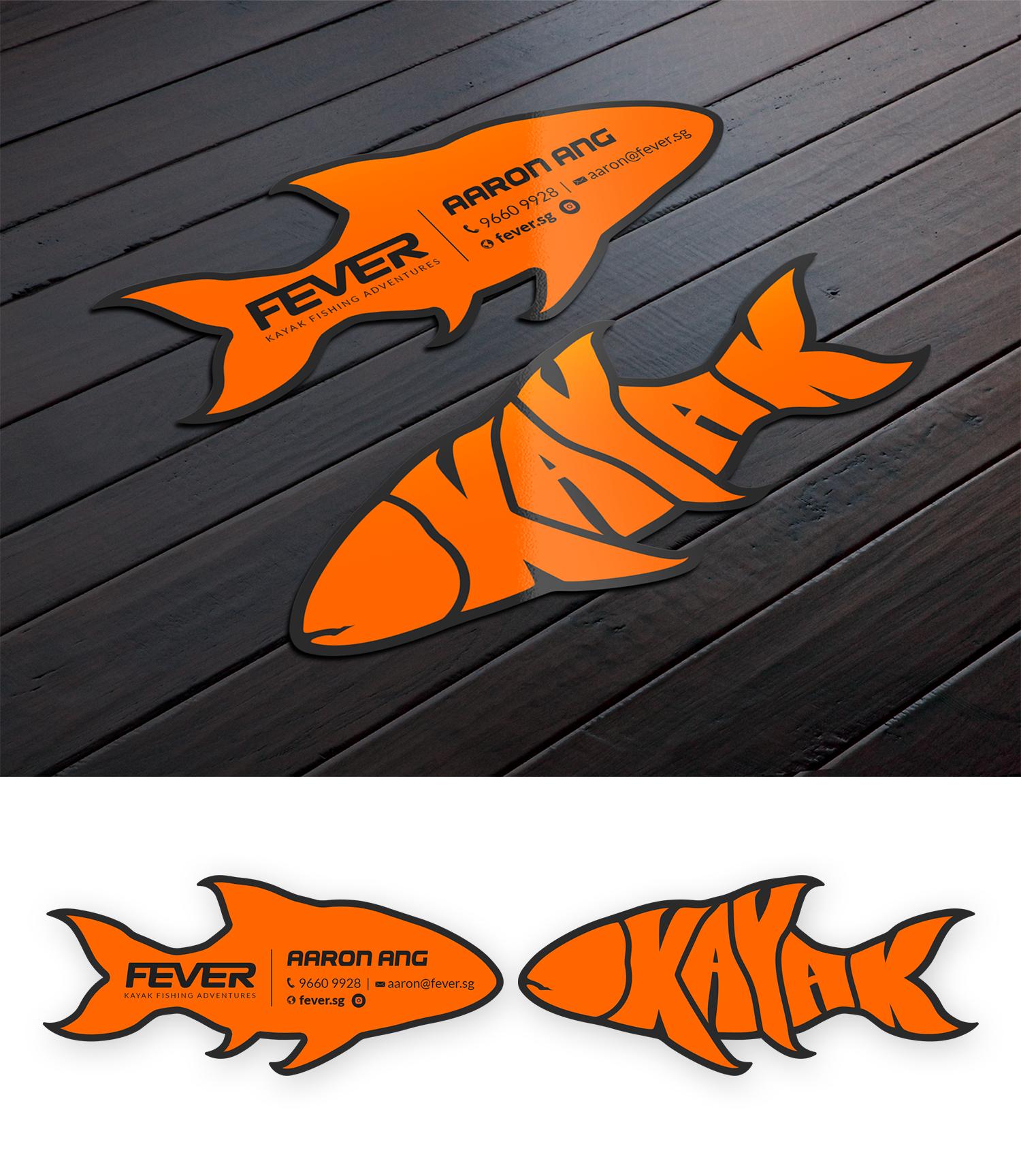 Design a fun business card for a Kayak Fishing Tour Company