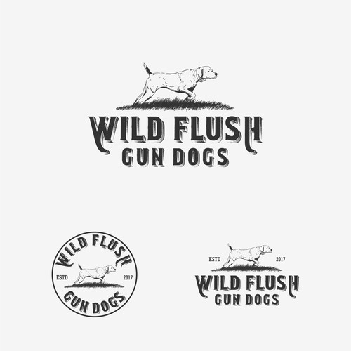 Wild Flush Gun Dogs Hand Drawn Logo