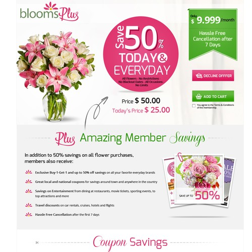 Landing page for Blooms Plus to help our customerssave money!