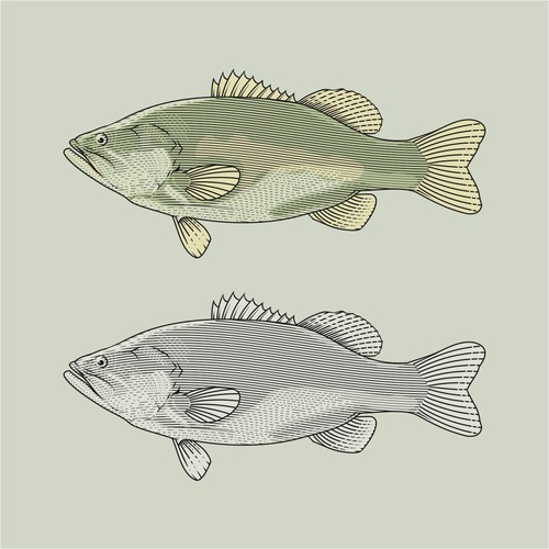 Line art fish style for life goog company