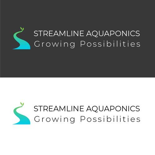 Logo concept for a company, that focus on aquaponics, aquaculture, aquatic ecology and ecosystems.