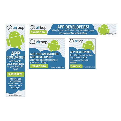 Web banner ad wanted for AirBop.com - GCM Push Messaging Service for Android App Developers