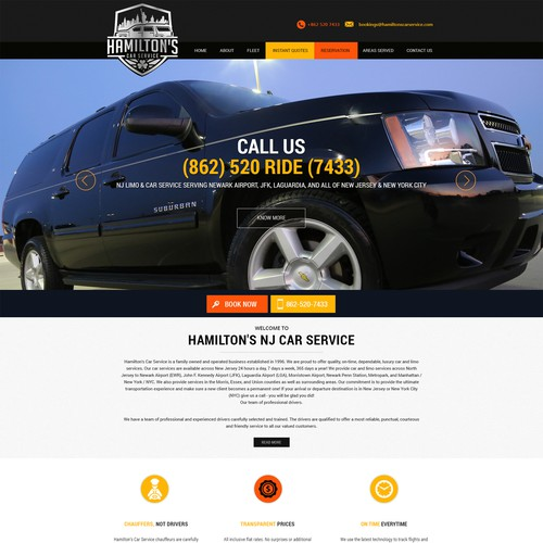 wordpress design for Hamiltons Car Service